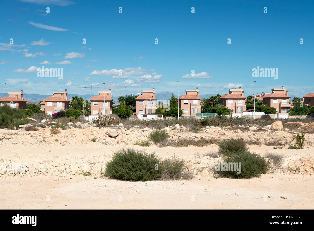 Newly built houses at property development in town of Gran Alacant close to Alicante, Costa Blanca, Spain Stock Photo