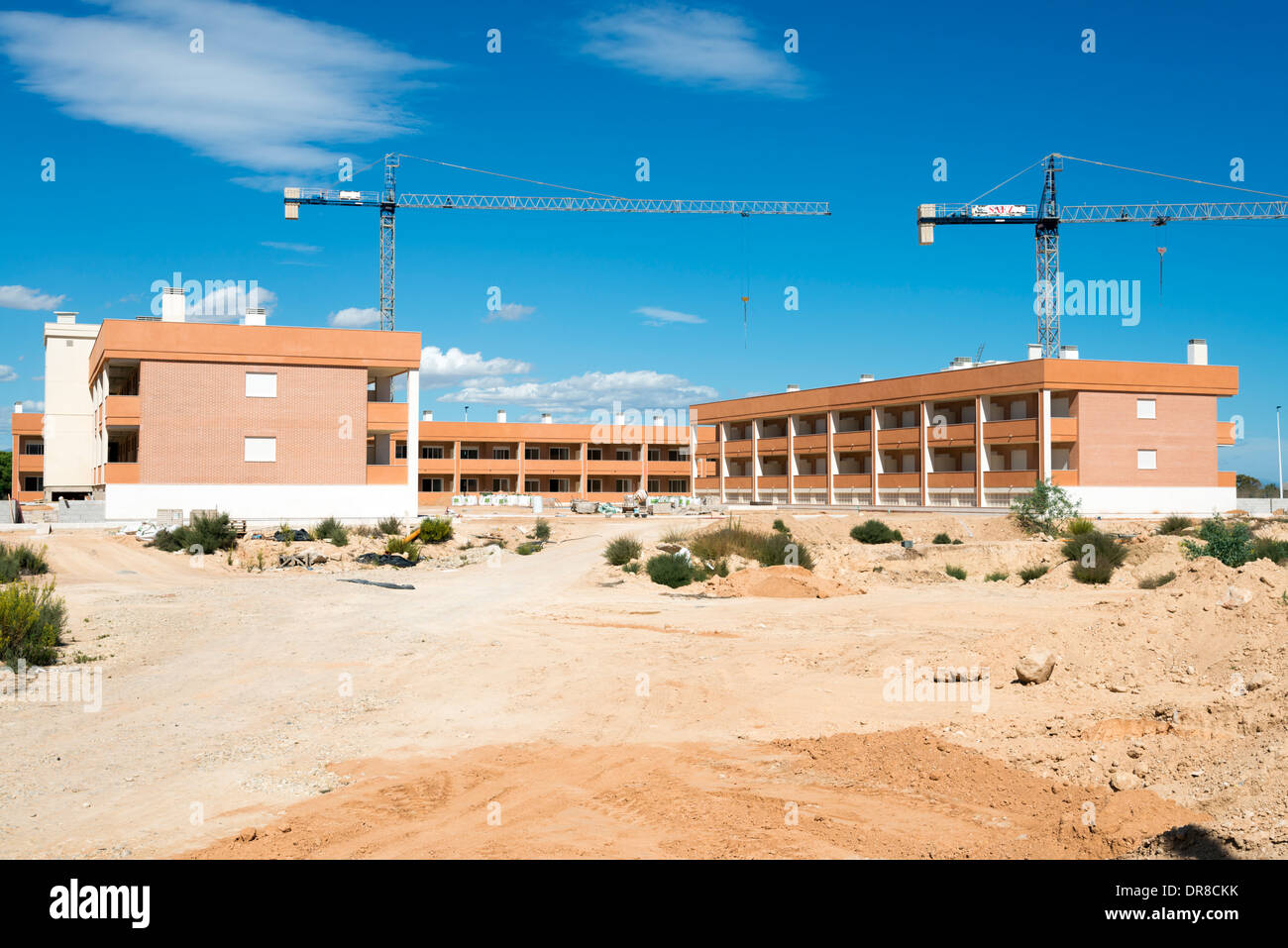 Unfinished property development under construction in new town of Gran Alacant close to Alicante, Costa Blanca, Stock Photo