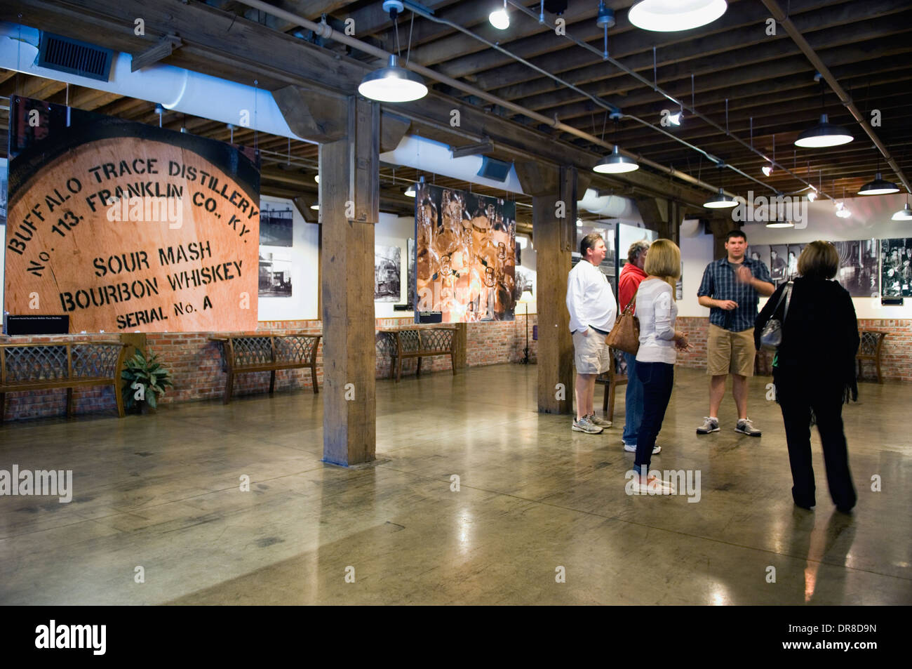 Tourists in the Buffalo Trace Distillery Visitor Center in Frankfort, Kentucky - Stock Image