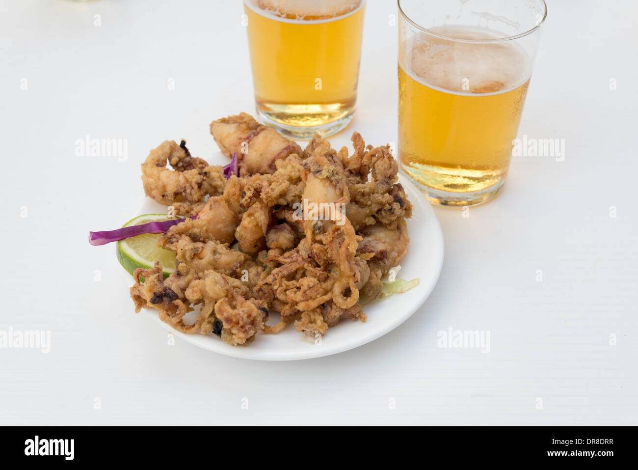 Tapa of deep fried squid, Almeria, Andalusia, Spain - Stock Image
