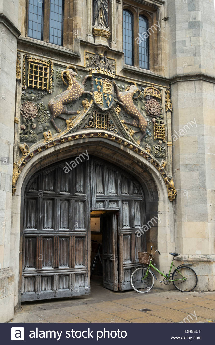 The Great Gate, Christ's College, Cambridge University, England, UK - Stock Image