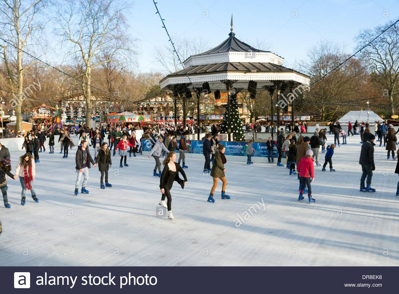 Open Air Ice Skating Rink At Christmas At Winter Wonderland Hyde Stock Photo