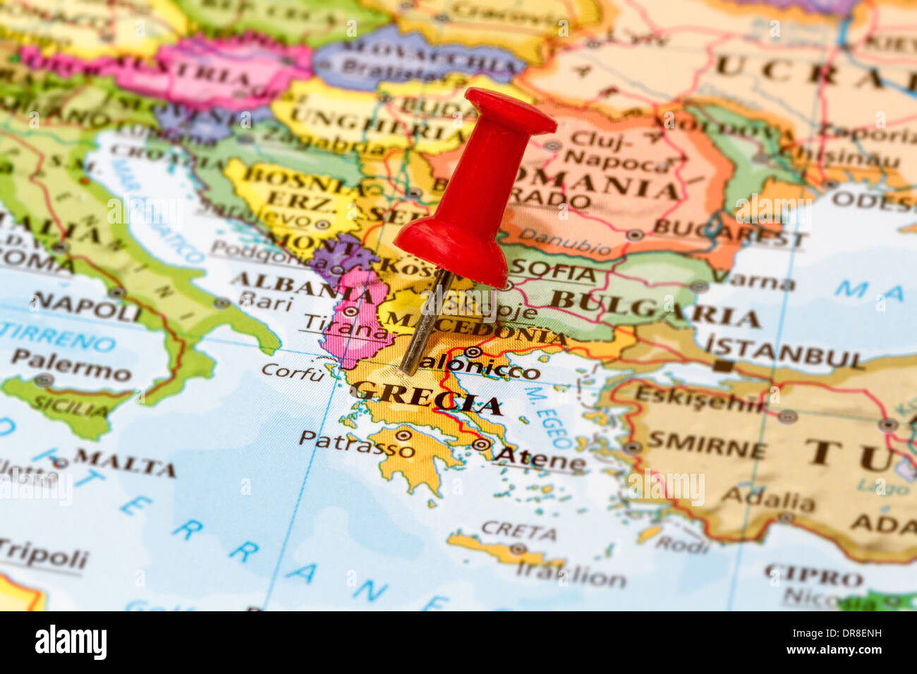 Map of Grecia with a white pushpin stuck - Stock Image