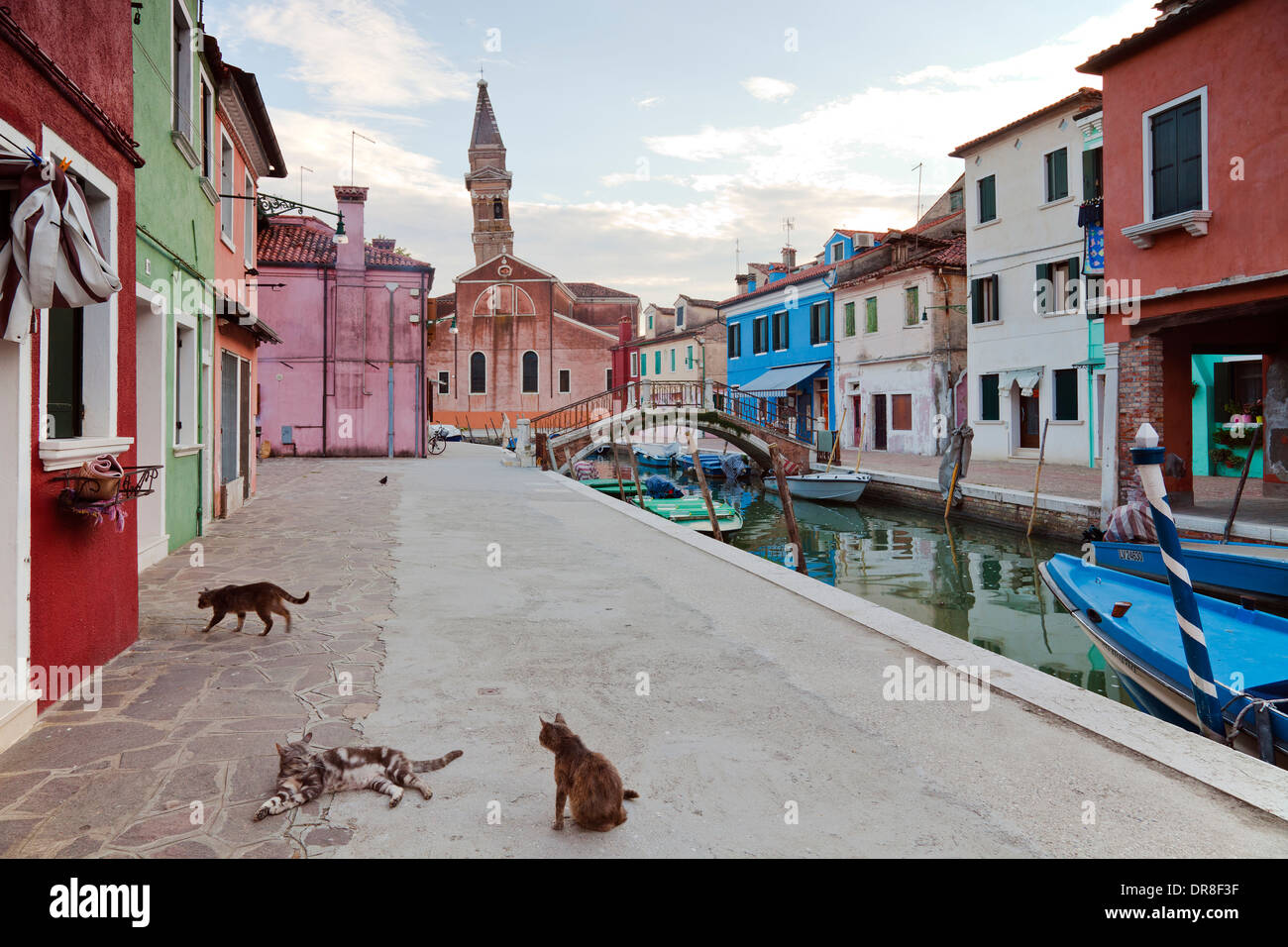 Burano - tilting tower of the church San Martini, Italy; Chiesa di San Martini - Stock Image