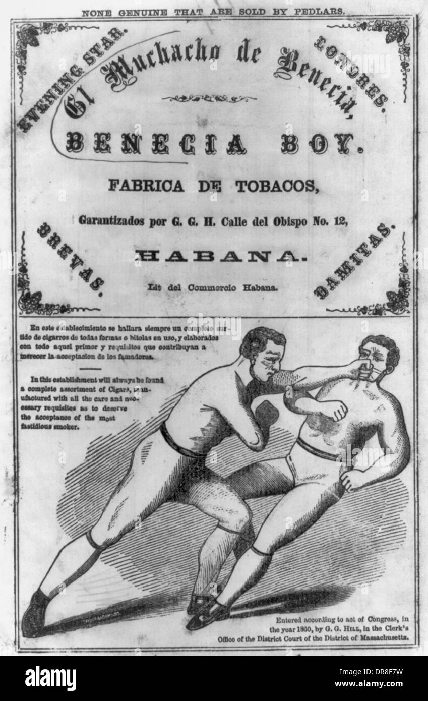 El Muchacho de Benecia, Benecia Boy, Fabrica de tobacos, Habana - Tobacco label showing two boxers in action. World championship bout - Tom Heenan & Tom Sayers. 1860 - Stock Image