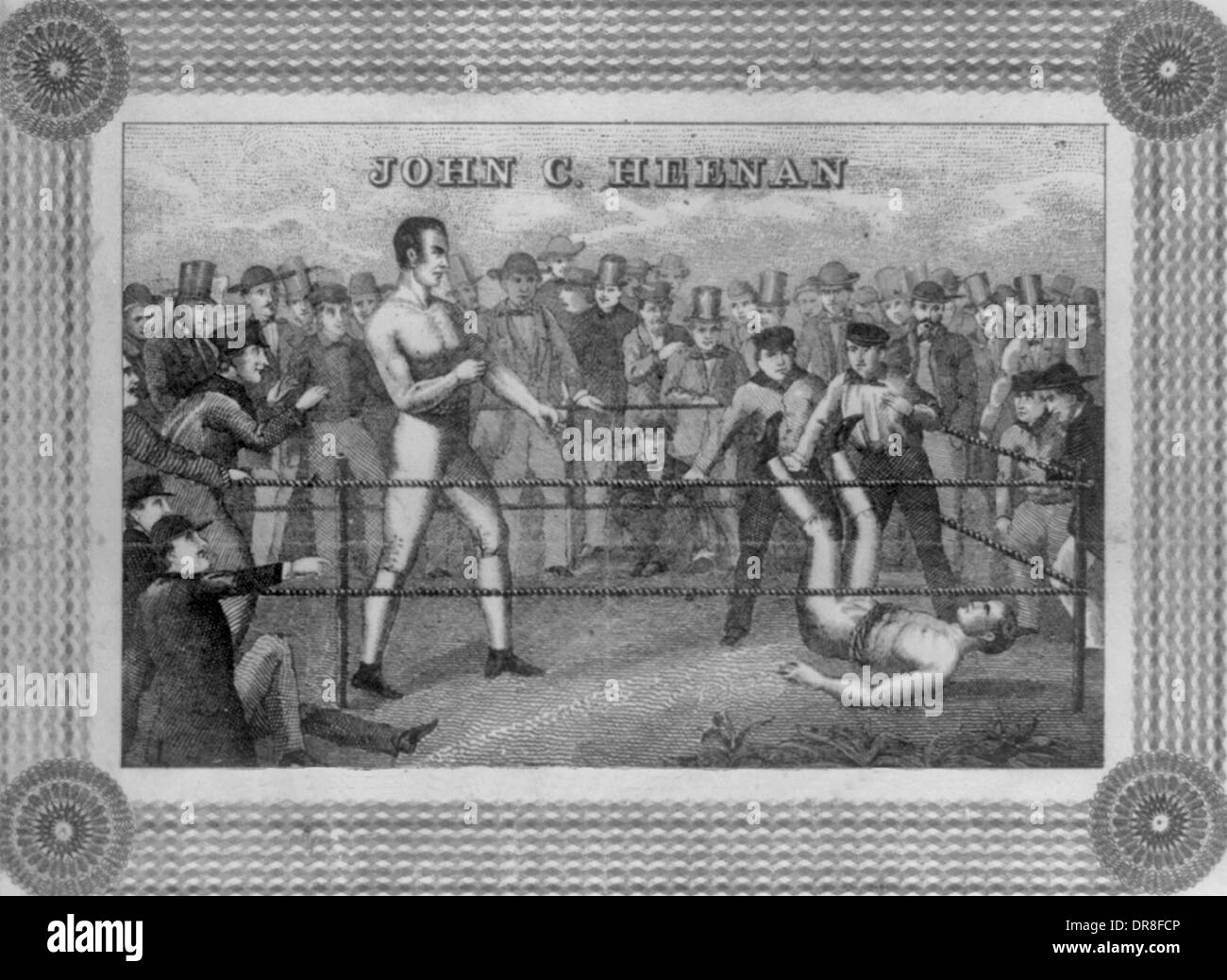 John C Heenan - Prizefighter knocking his opponent off his feet in the ring. 1860 - Stock Image