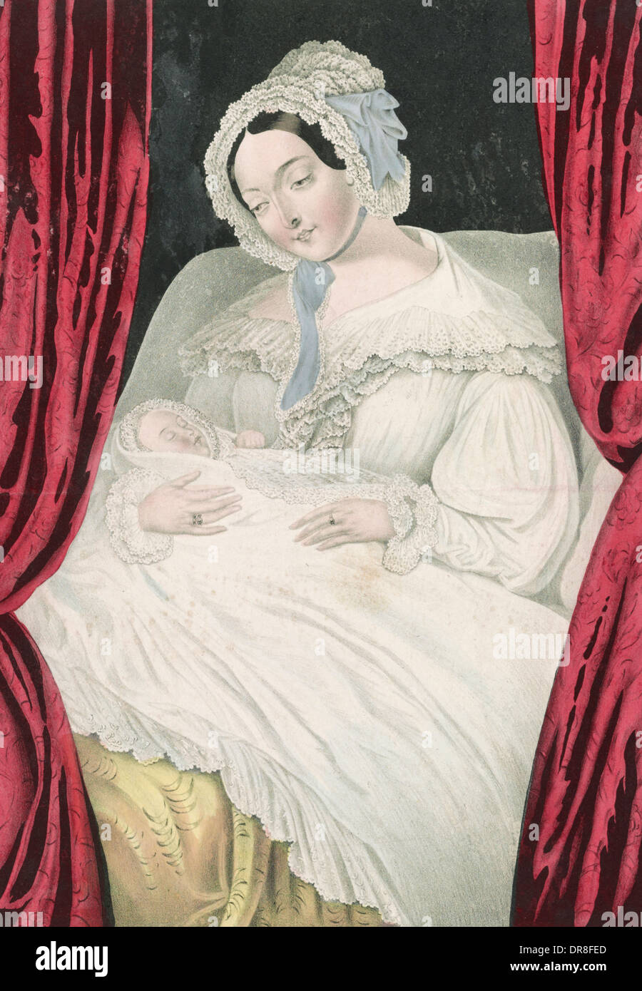 Maternal affection - Mother with young child, circa 1845 - Stock Image