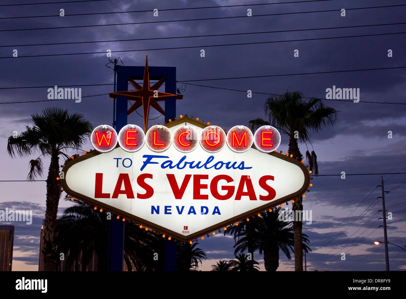 Illuminated signage of Las Vegas - Stock Image