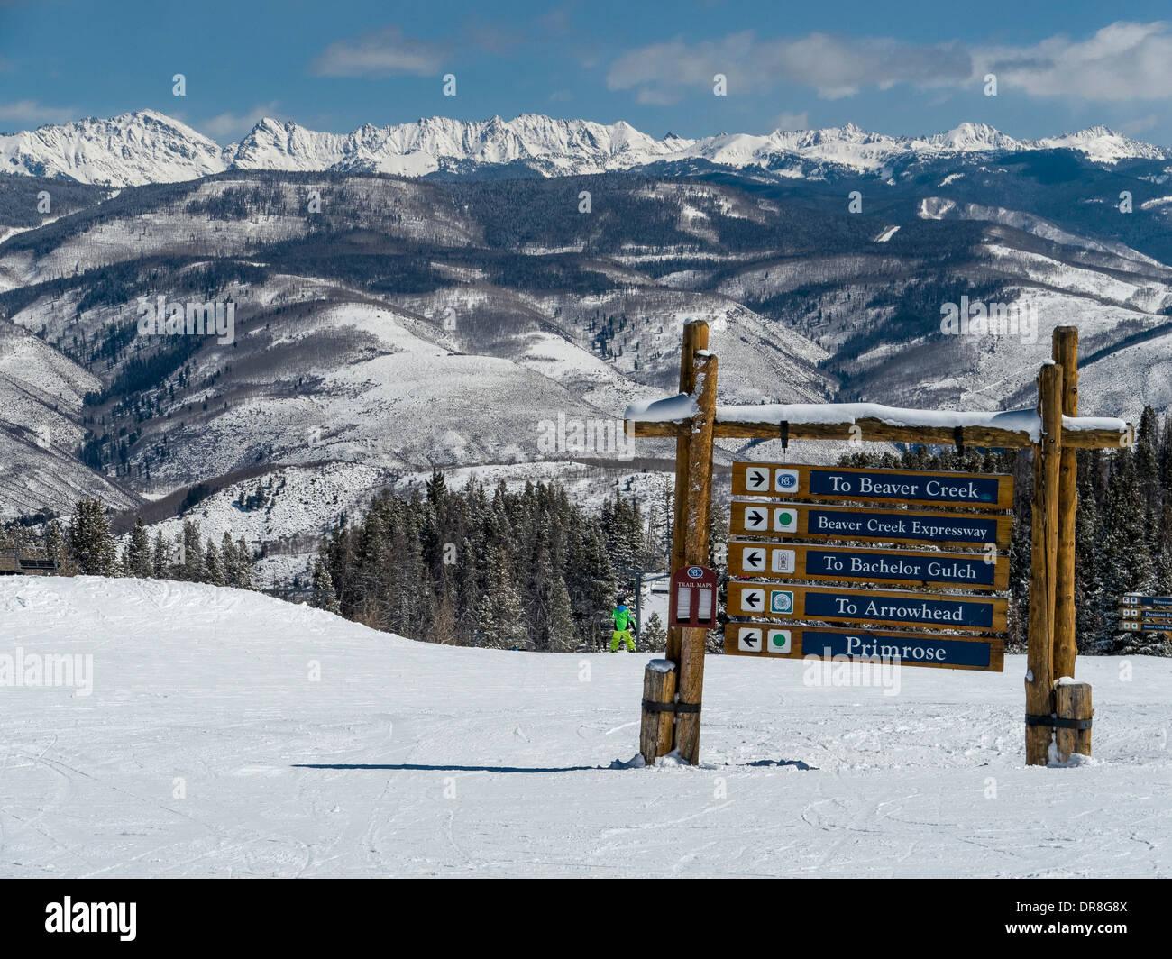 gore range and ski trails from beaver creek resort ski, avon stock