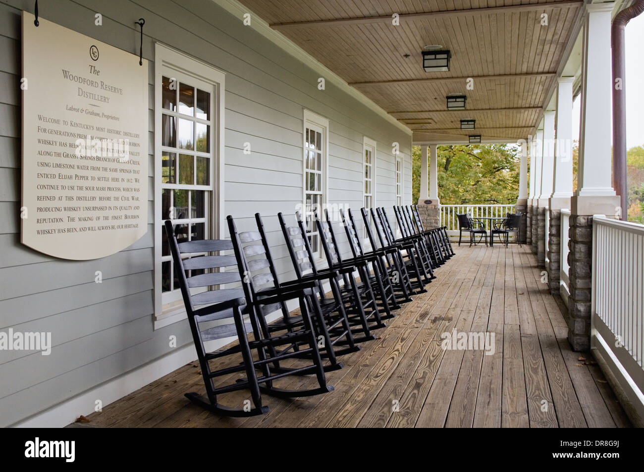 Porch at Woodford Reserve Visitor Center and Distillery in Woodford County, Kentucky - Stock Image