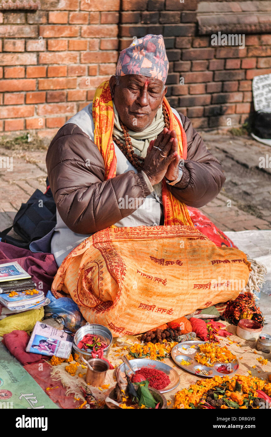 fortune teller at the temple of Pashtupatinath, Kathmandu, Nepal - Stock Image