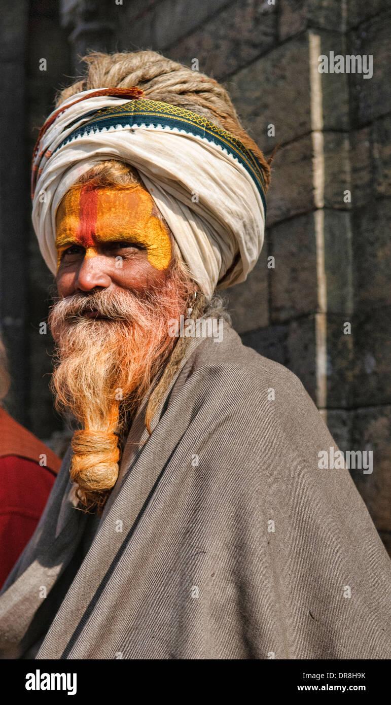 Portrait of a sadhu, Kathmandu, Nepal - Stock Image