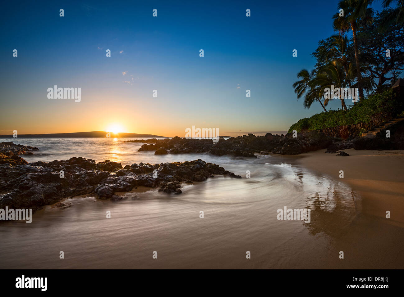 Beautiful and secluded Secret Beach in Maui, Hawaii. Stock Photo