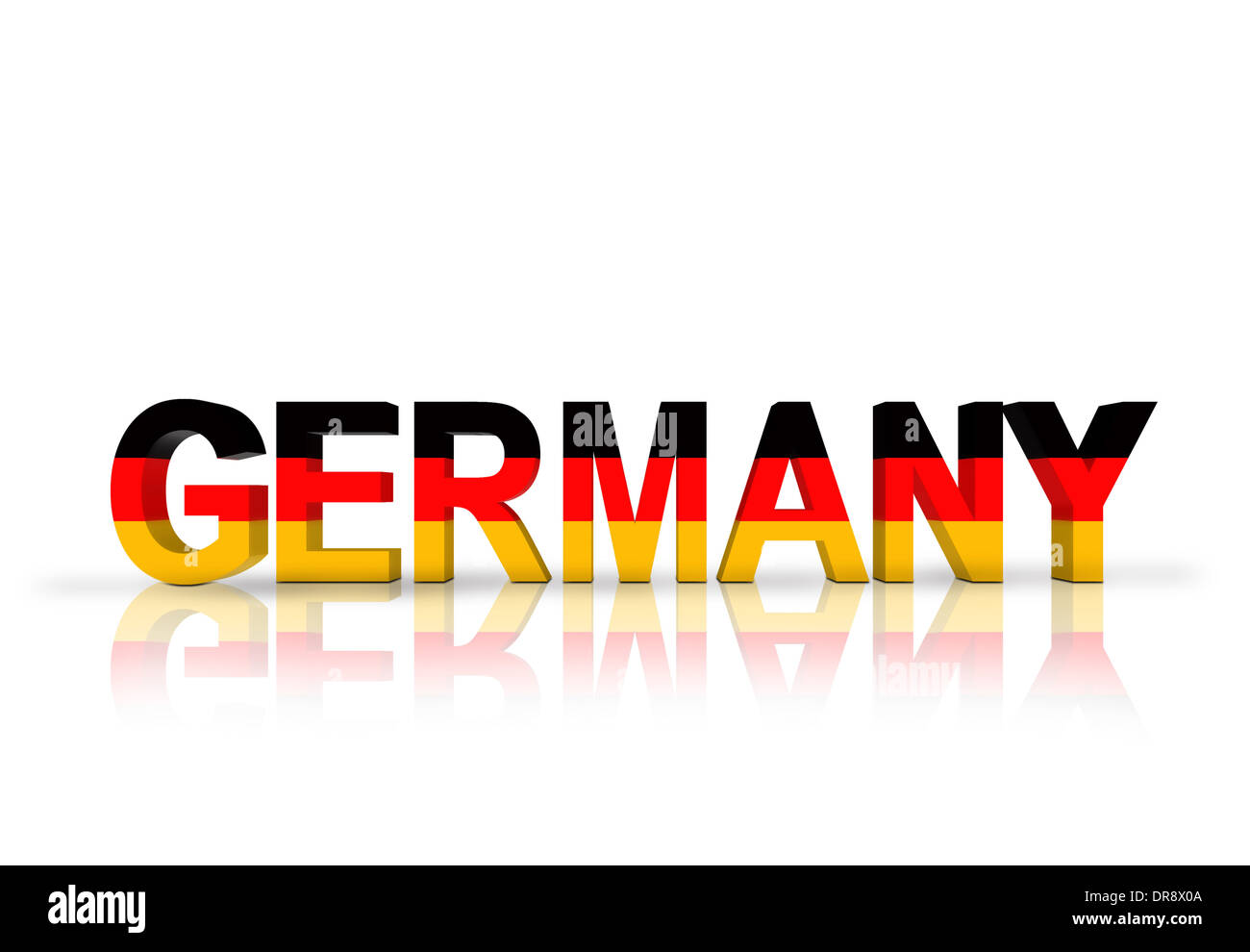 Germany text with German flag - Stock Image