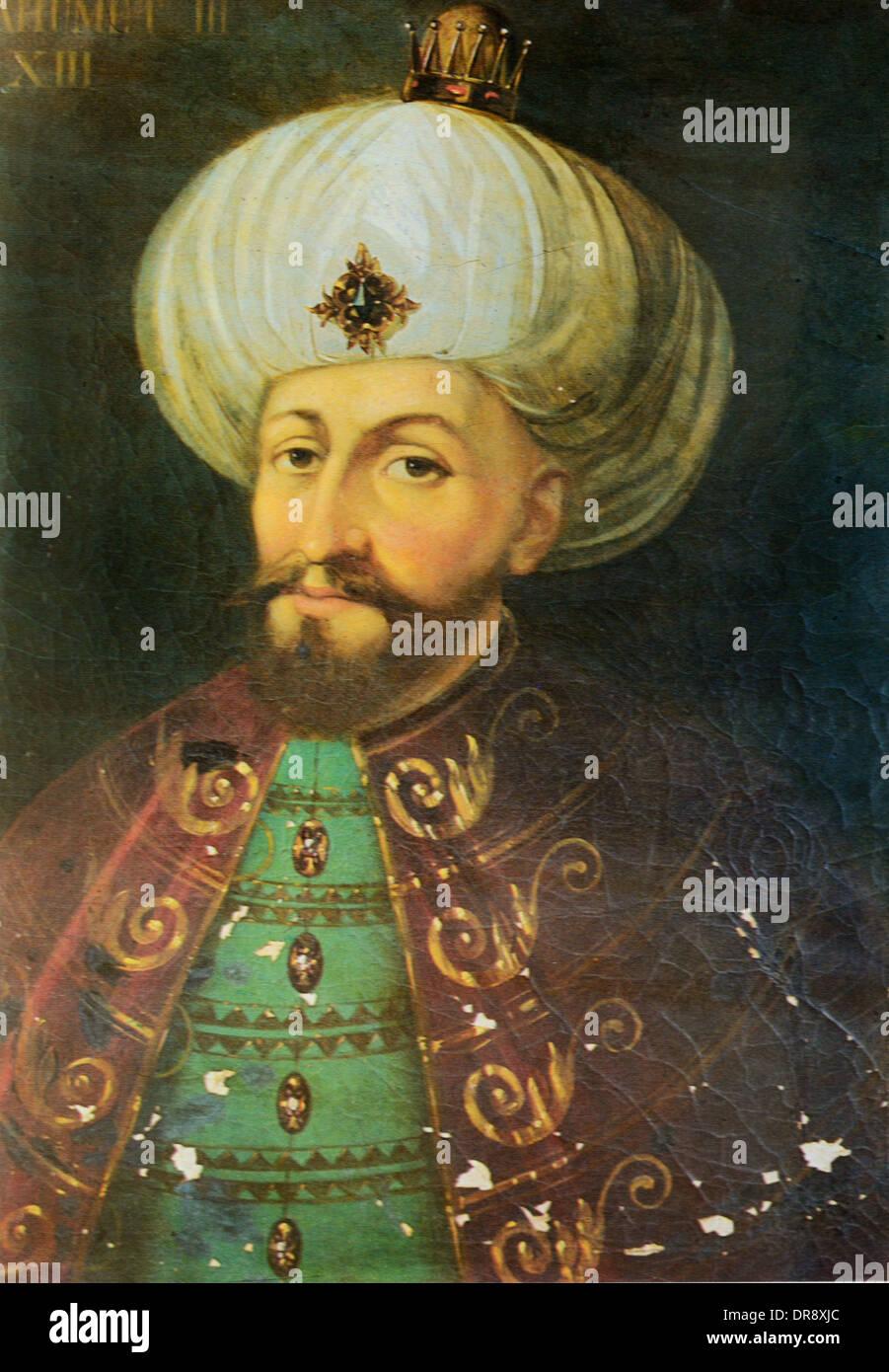 Turkish Ottoman Sultan Mehmed III (1566-1603) Portrait Painting with Turban Stock Photo