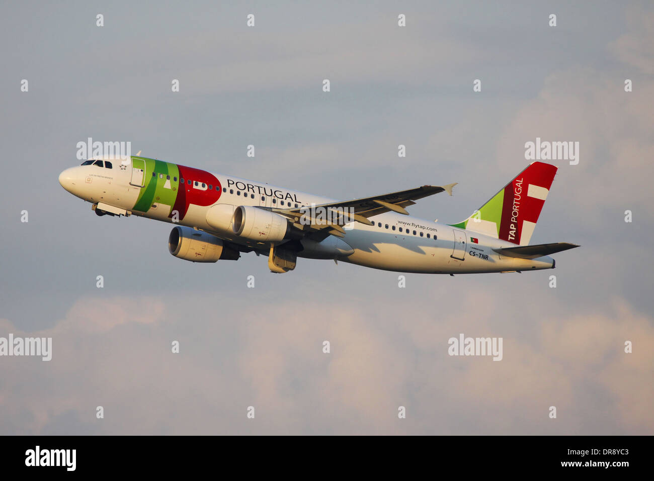 TAP Portugal Airlines Airbus A320 taking off from Moscow DME airport to Lisbon LIS - Stock Image