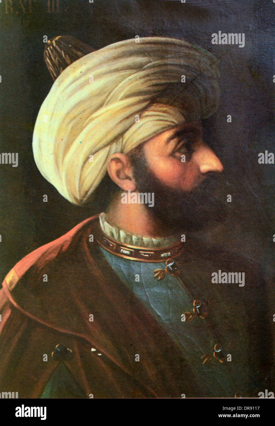 Turkish Ottoman Sultan Murad III (1546-1595) or Murat III Portrait Painting - Stock Image