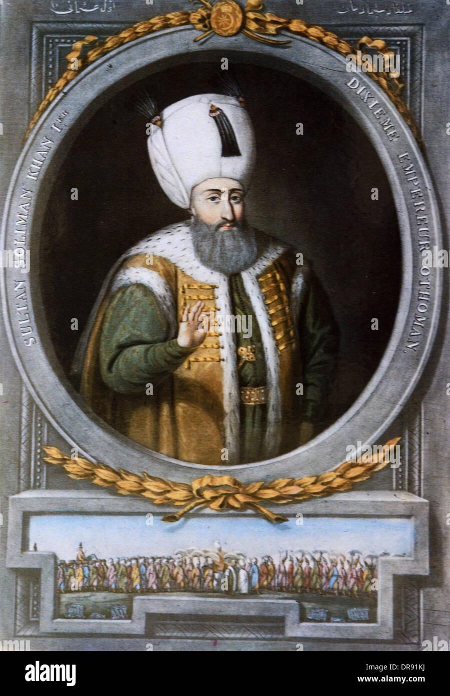 Turkish Ottoman Suleiman I (1494-1566) the Magnificent Portrait - Stock Image