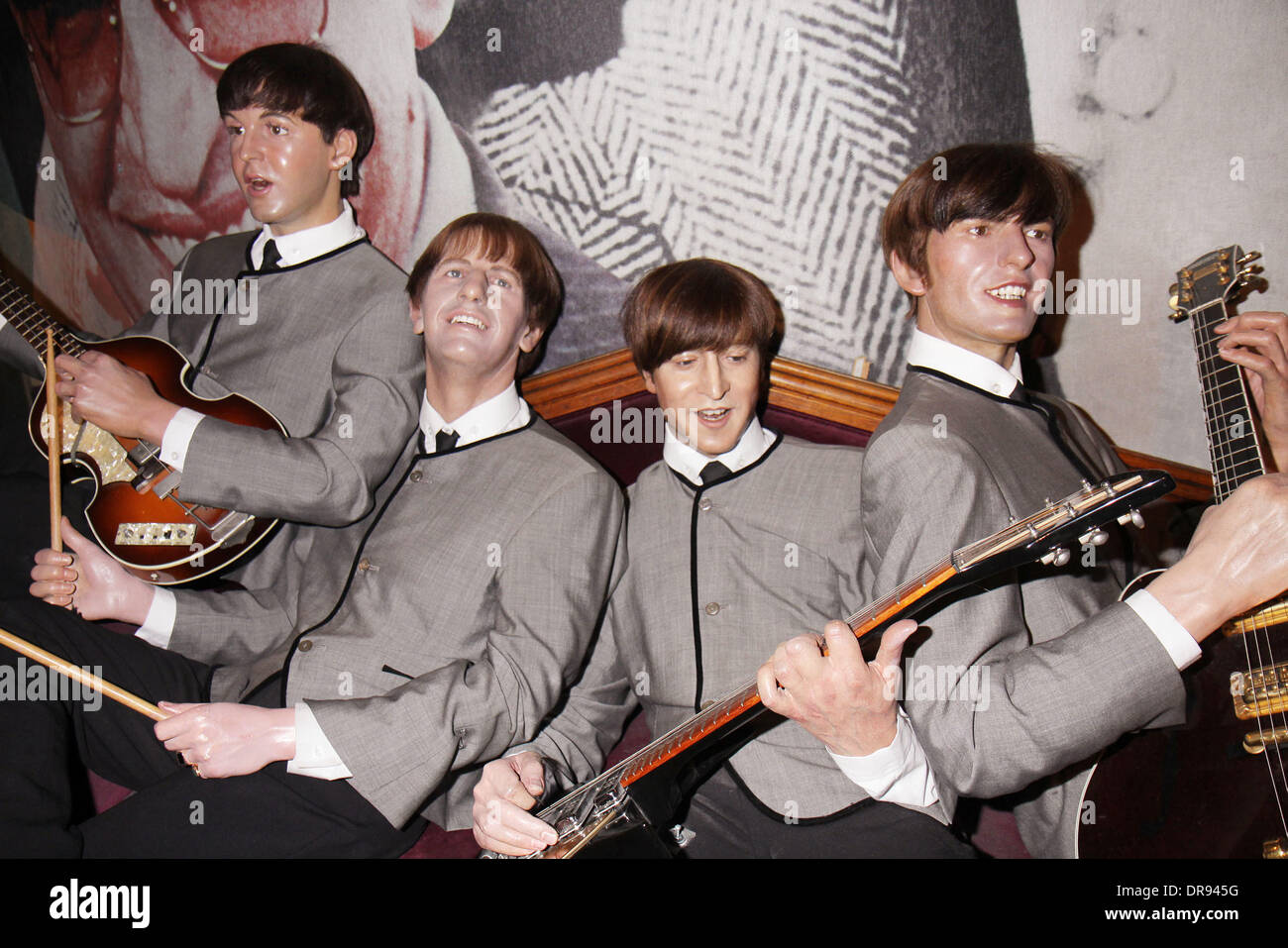 Beatles Wax Figures As Young Men Including George Harrison Paul Stock Photo Alamy