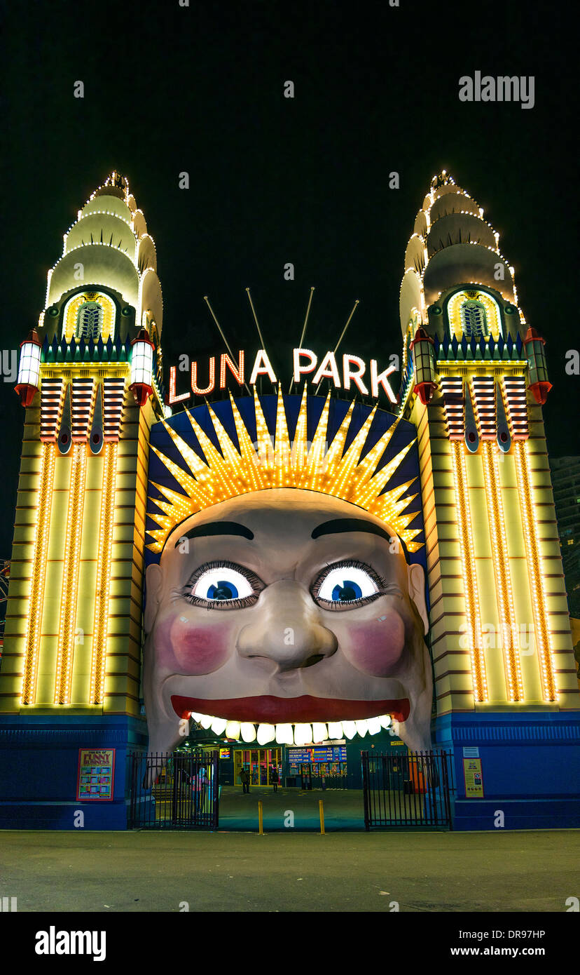 luna park entrance gate in sydney australia - Stock Image