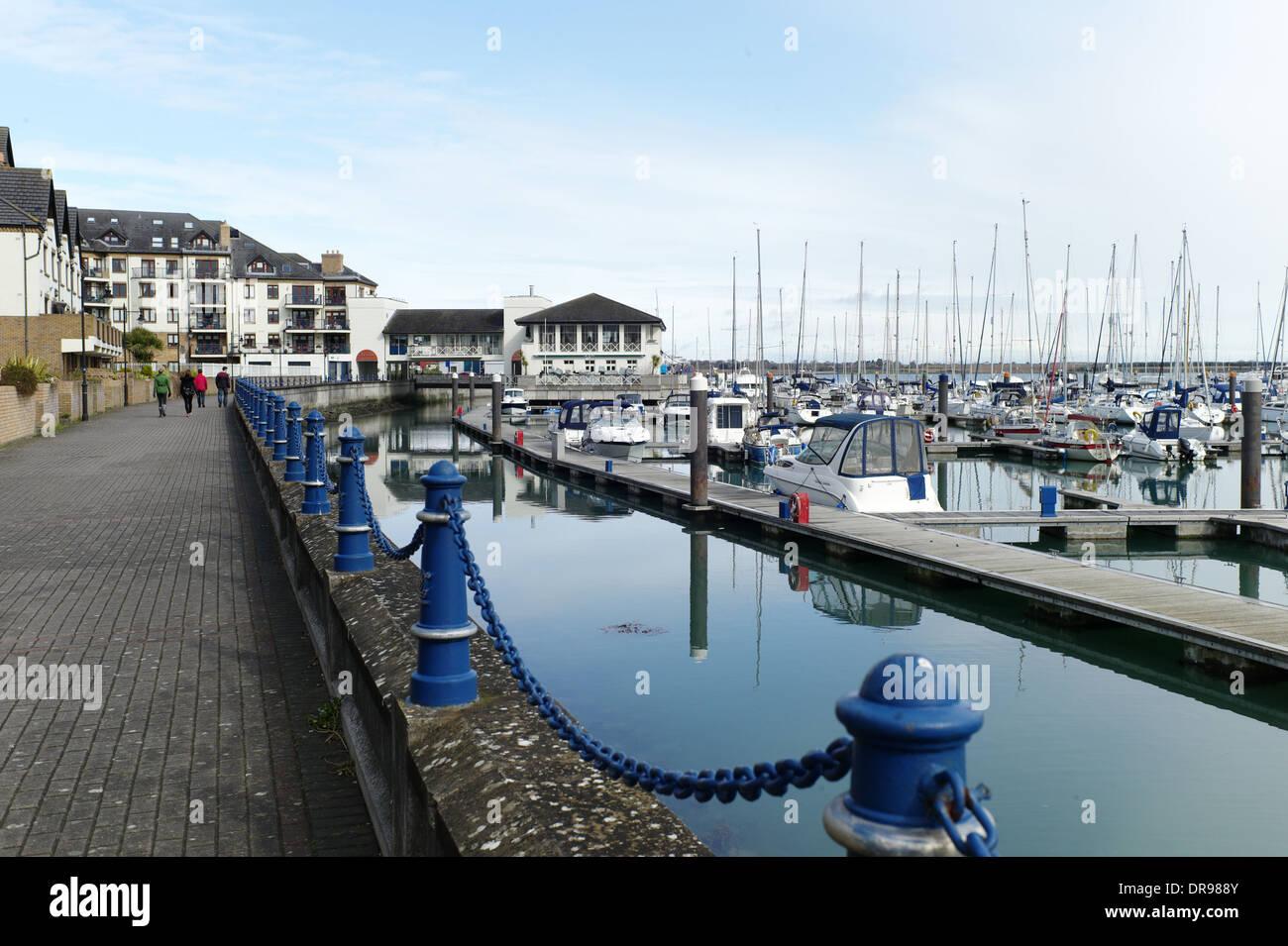 The marina with its boats and apartments at Malahide, Dublin, Ireland - Stock Image