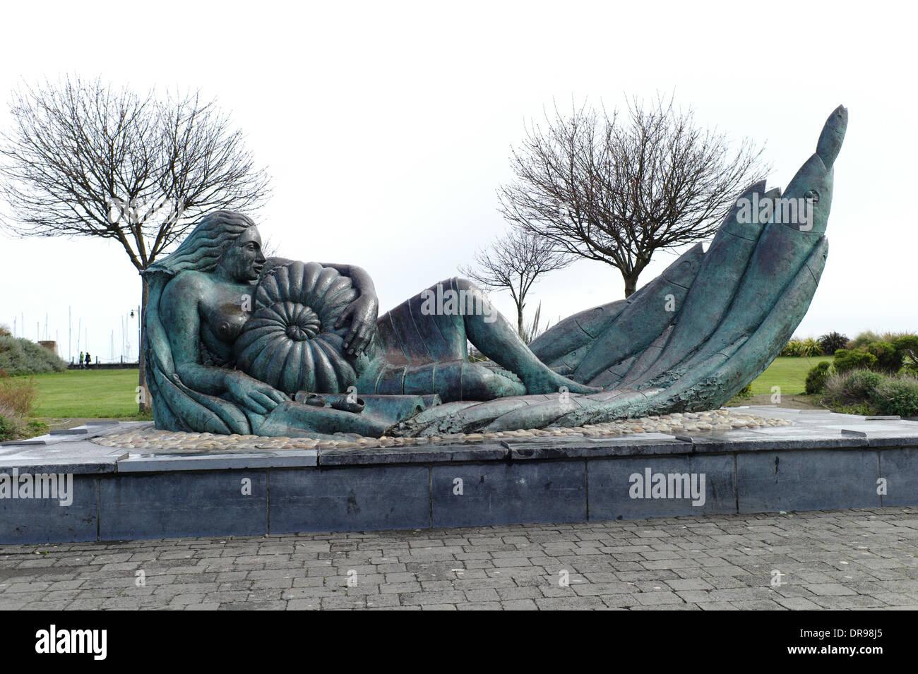 The Mermaid bronze sculpture at Malahide, Dublin, Ireland - Stock Image