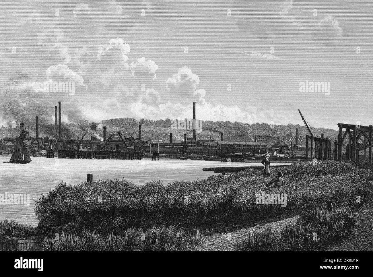 THAMES AT WOOLWICH Stock Photo