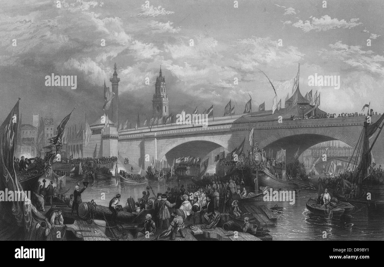 NEW LONDON BRIDGE 1831 - Stock Image