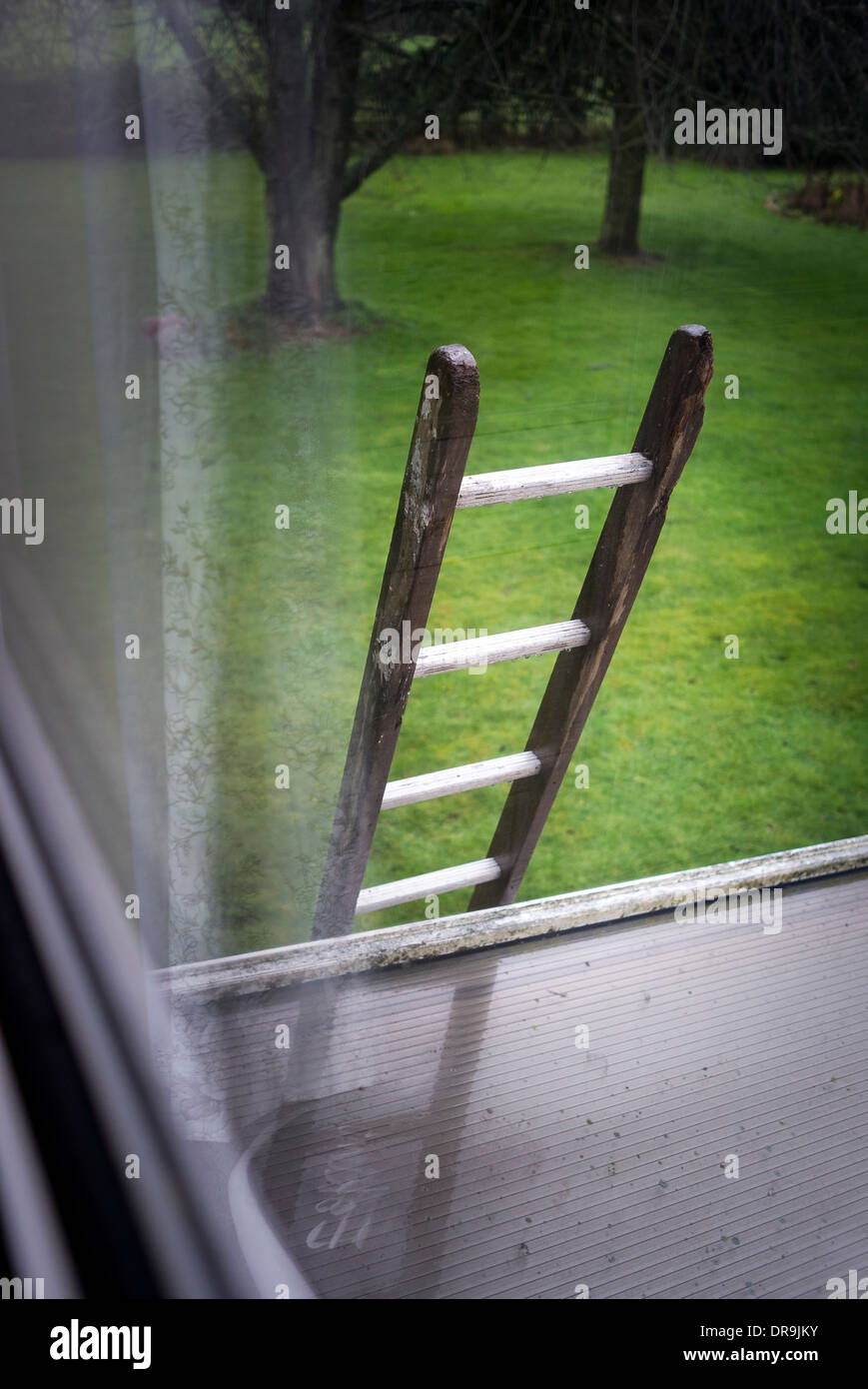 Ladder left with access to upstairs window exposing security risk against burglars (Seen through double glazed window) - Stock Image