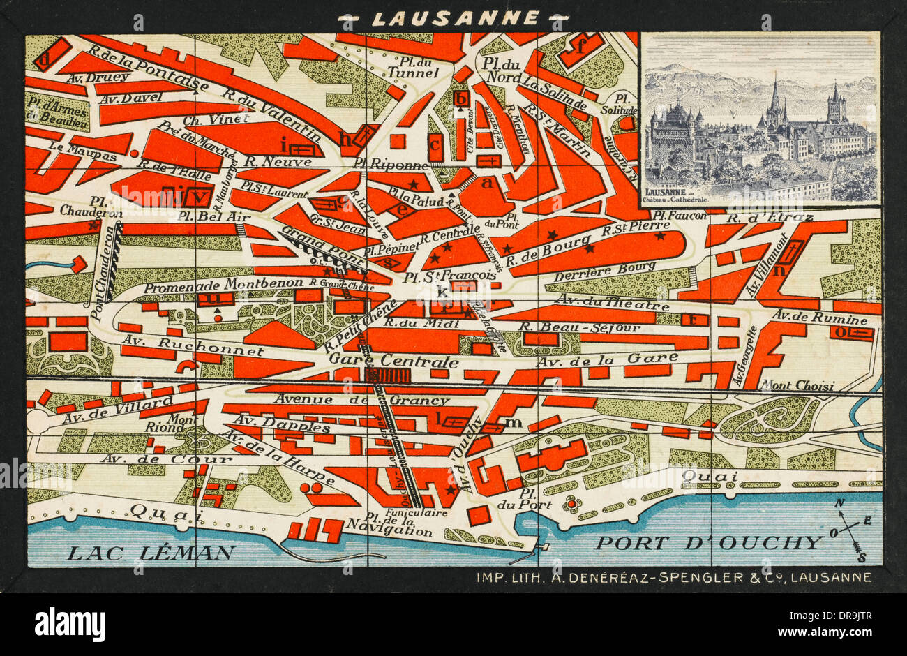 Map of Lausanne - Stock Image