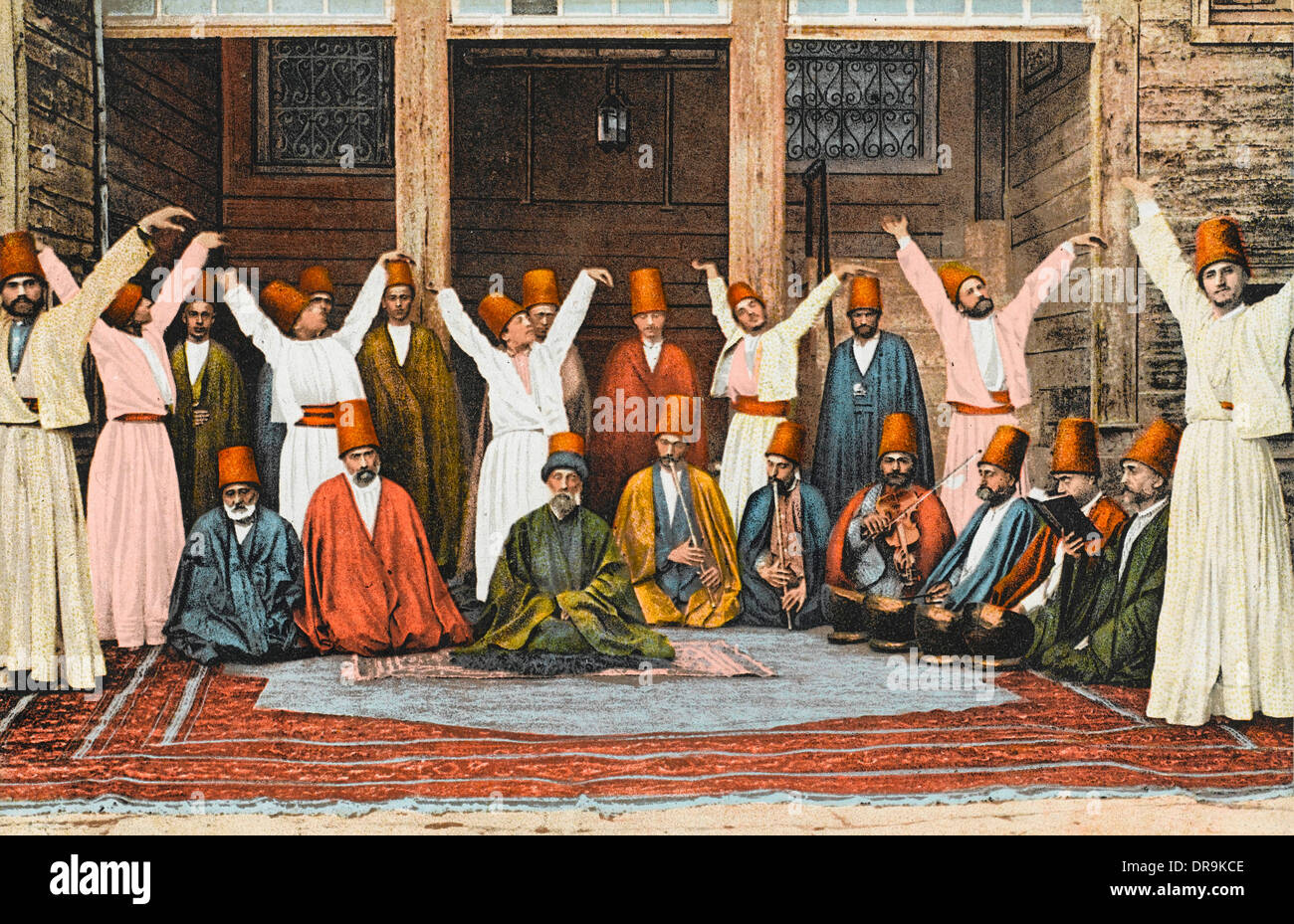Group of Mevlevi Dervishes - Istanbul (colourised) - Stock Image