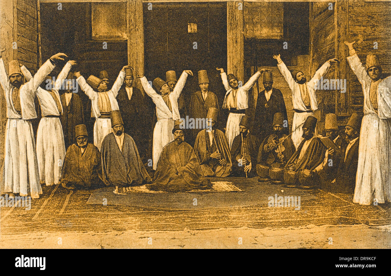 Group of Mevlevi Dervishes - Istanbul (sepia) - Stock Image