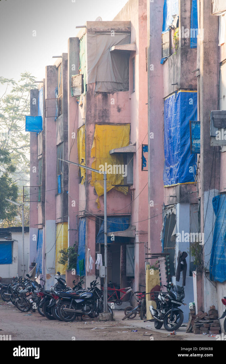 Slum housing in Ahmedabad; India; - Stock Image