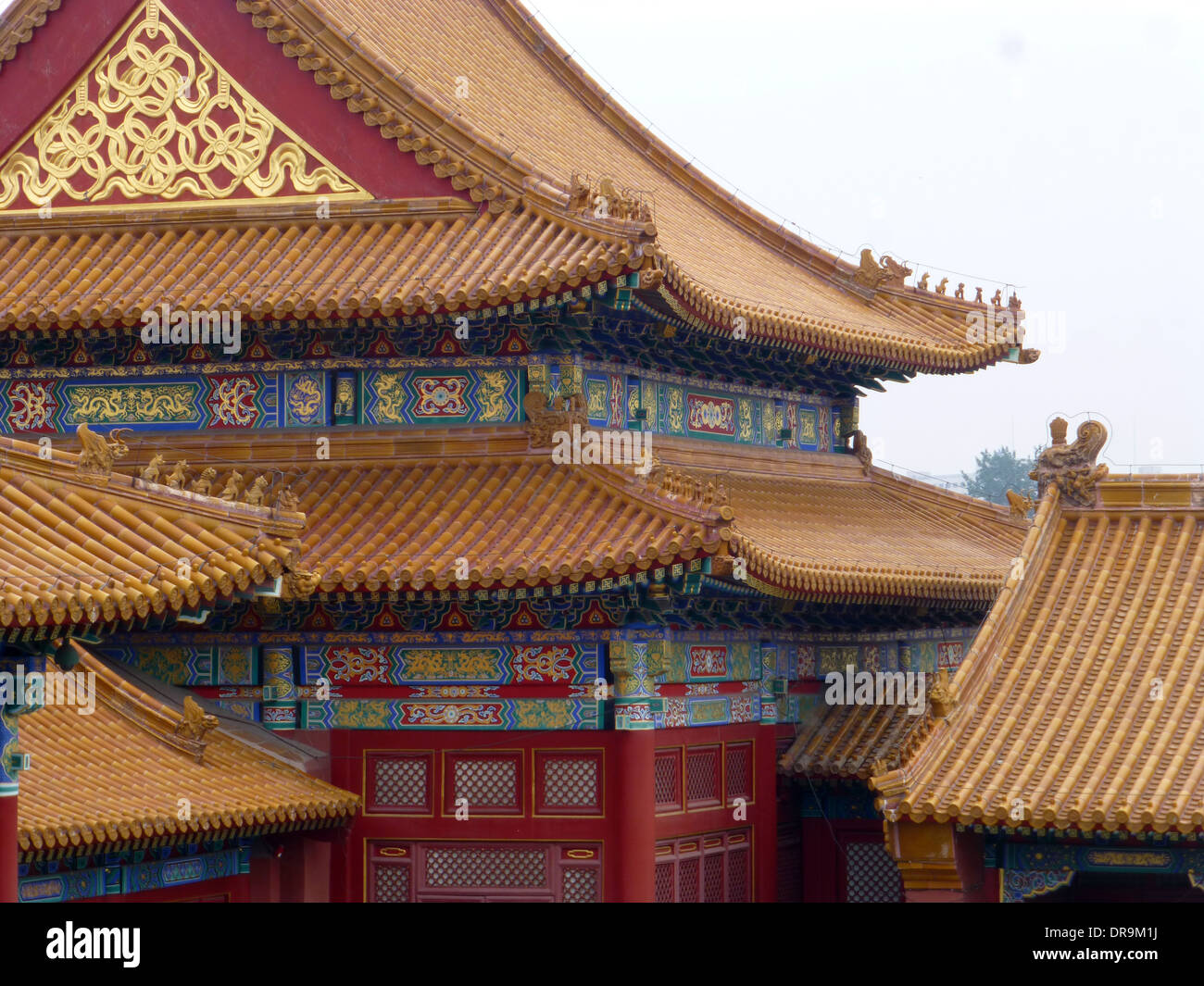 chinese imperial roof decoration on forbidden city beijing china