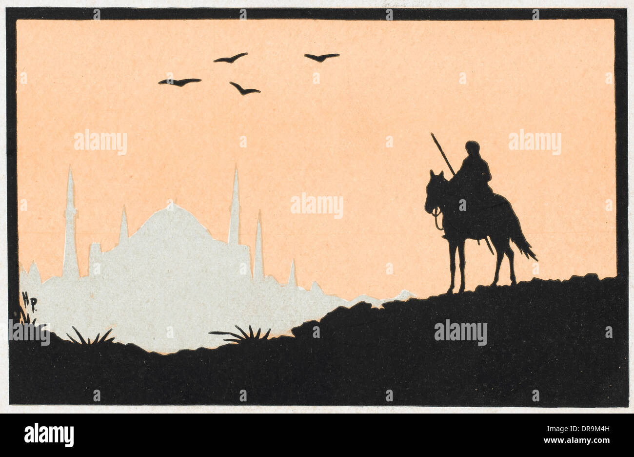 Stylised view of a rider approaching Constantinople - Stock Image