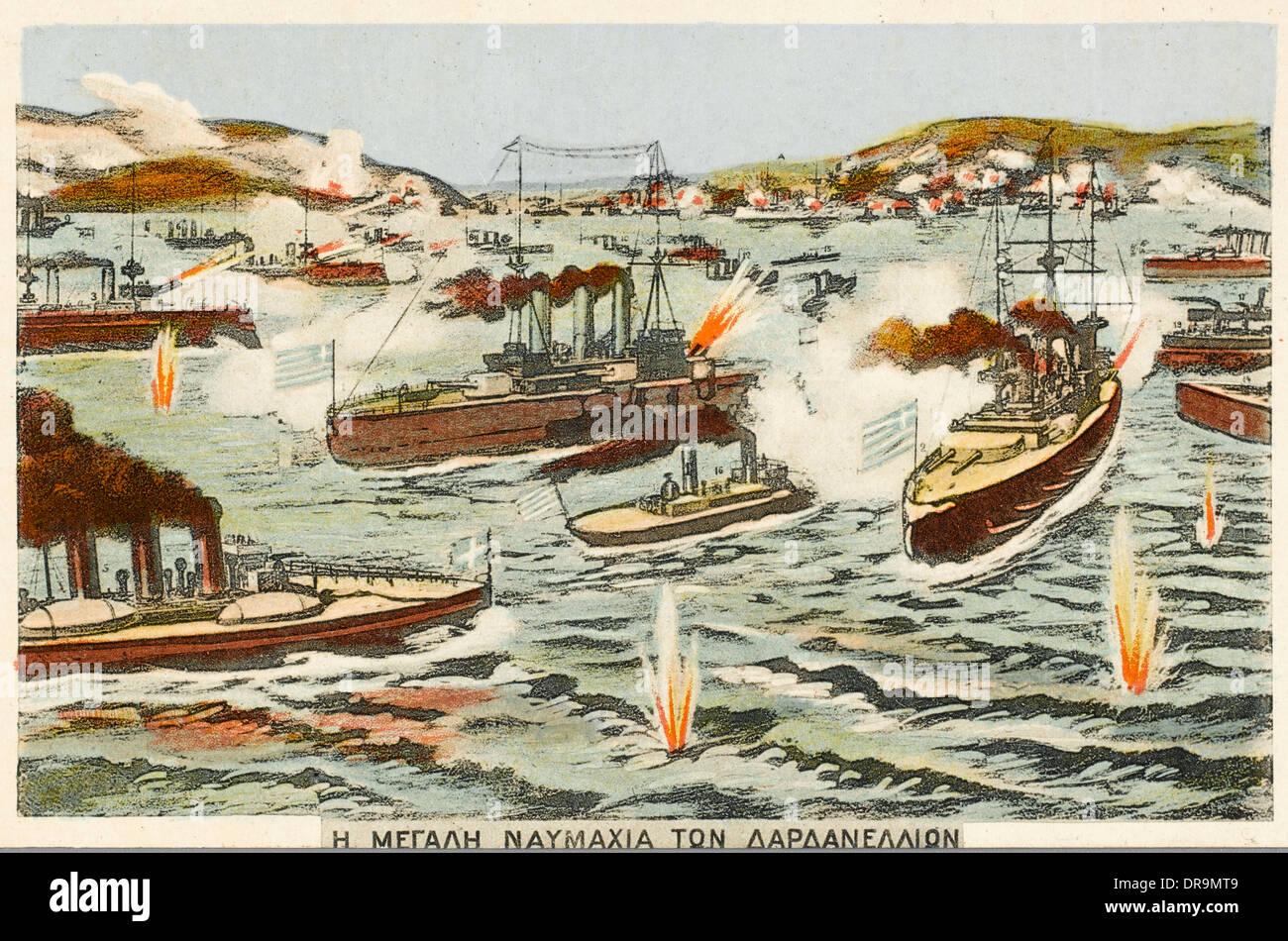 First Balkan War (1912 - 1913) - Greek Fleet attack - Stock Image