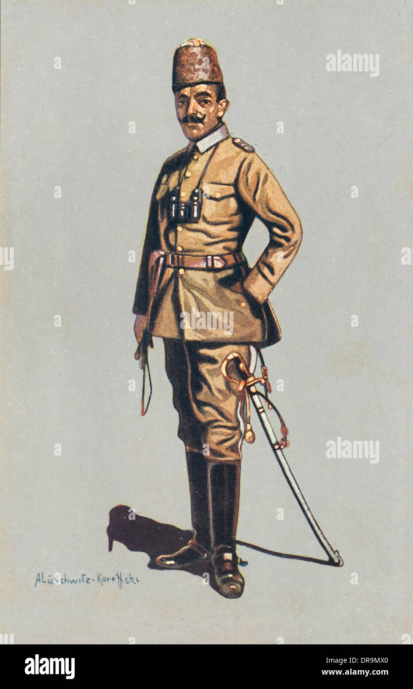 Turkish cavalry Officer - WWI - Stock Image