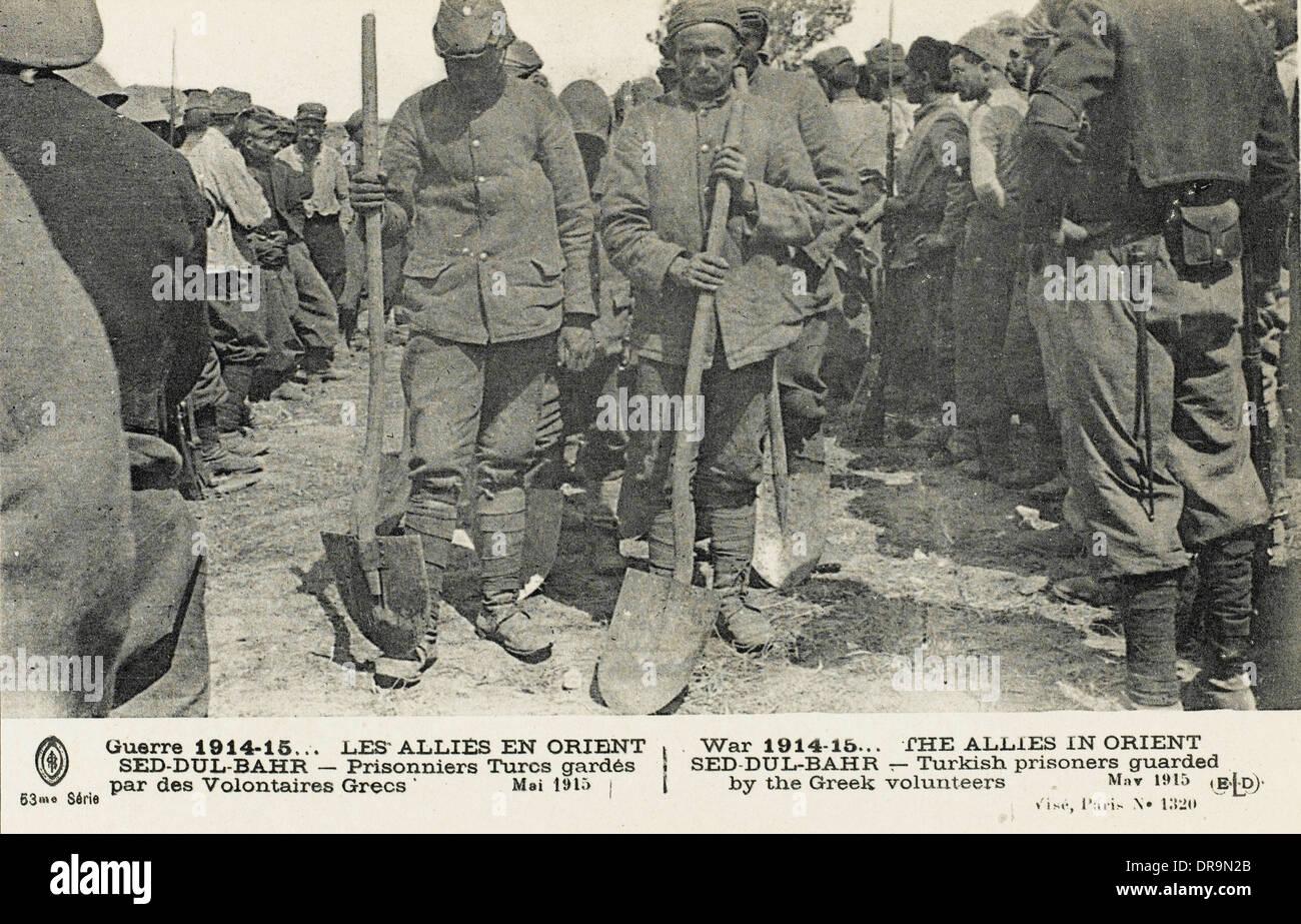 Dardanelles - Turkish prisoners guarded by Greek Troops