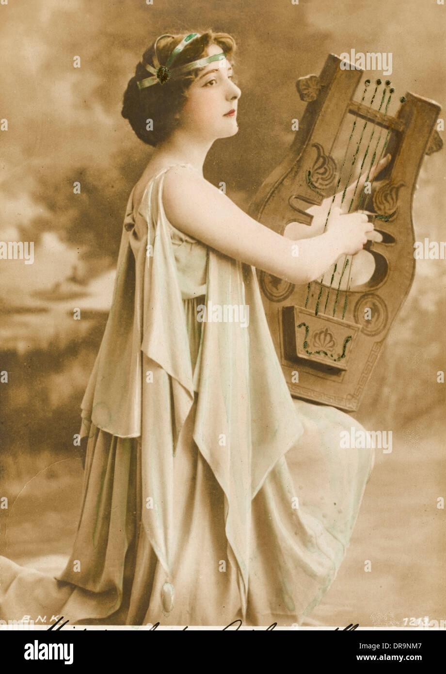 Greek harp player - Stock Image