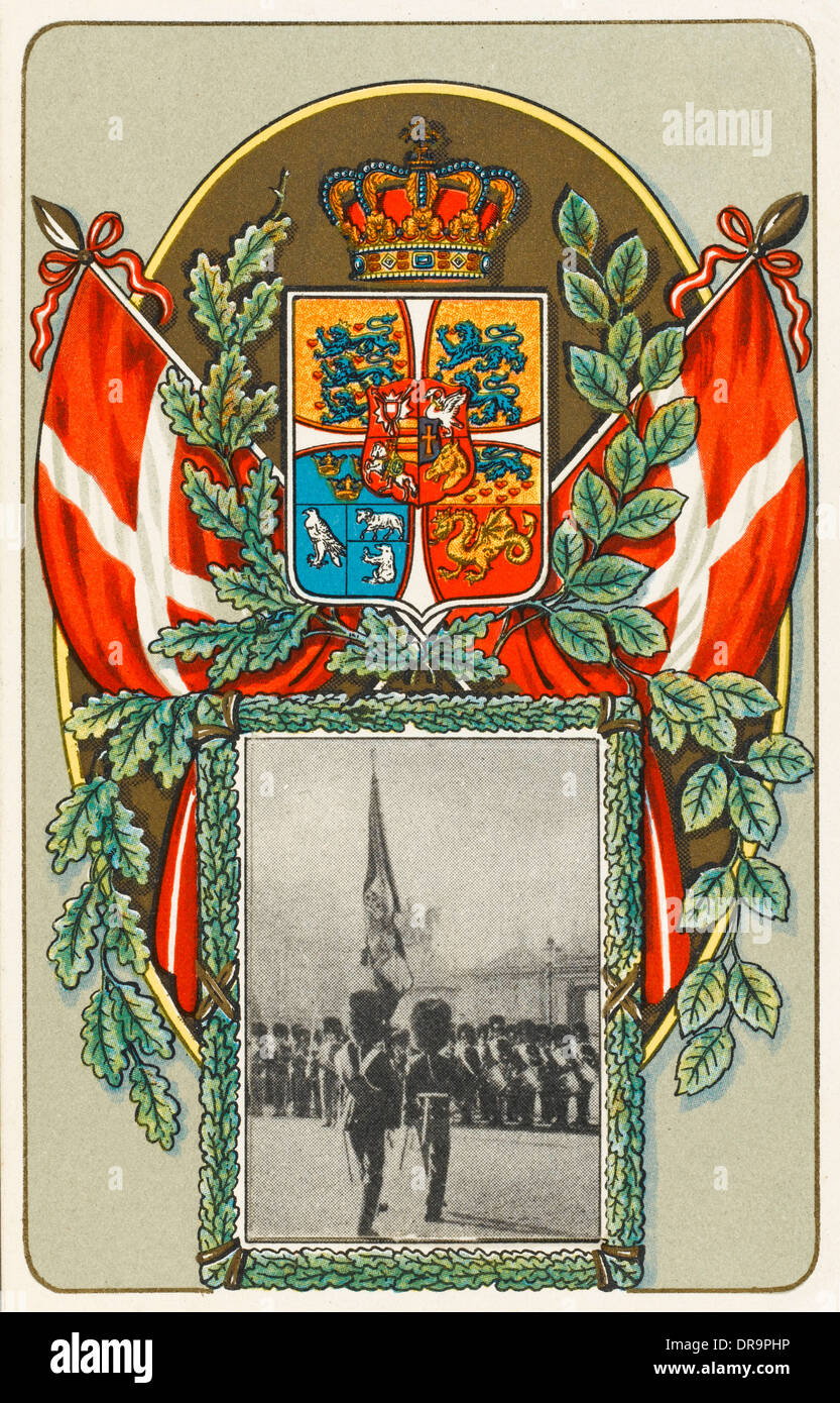 The arms and insignia of Denmark - Stock Image
