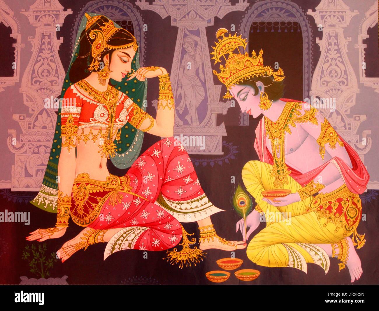 Krishna god painting stock photos krishna god painting for Mural radha krishna