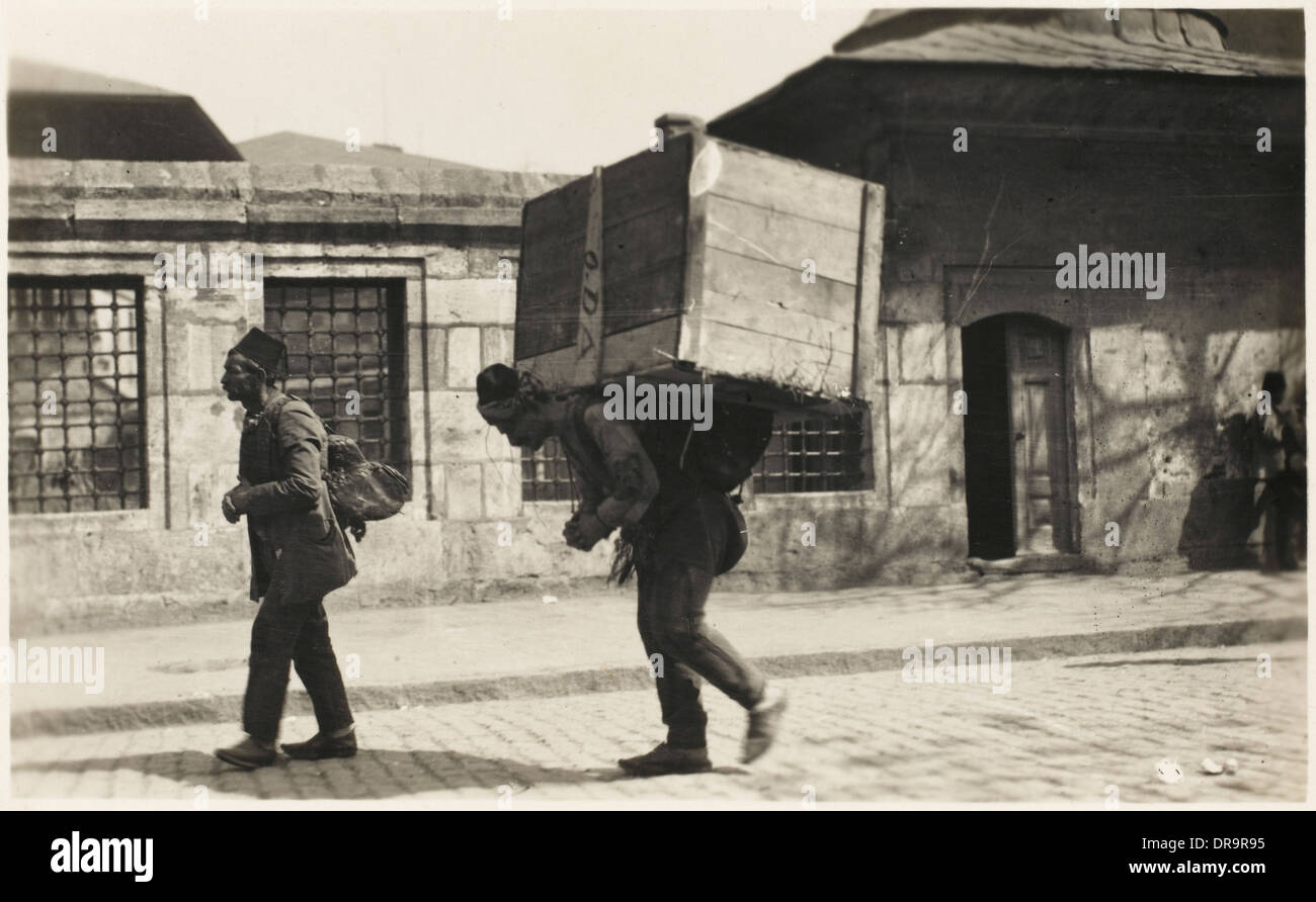 Turkish porters - Constantinople - Stock Image