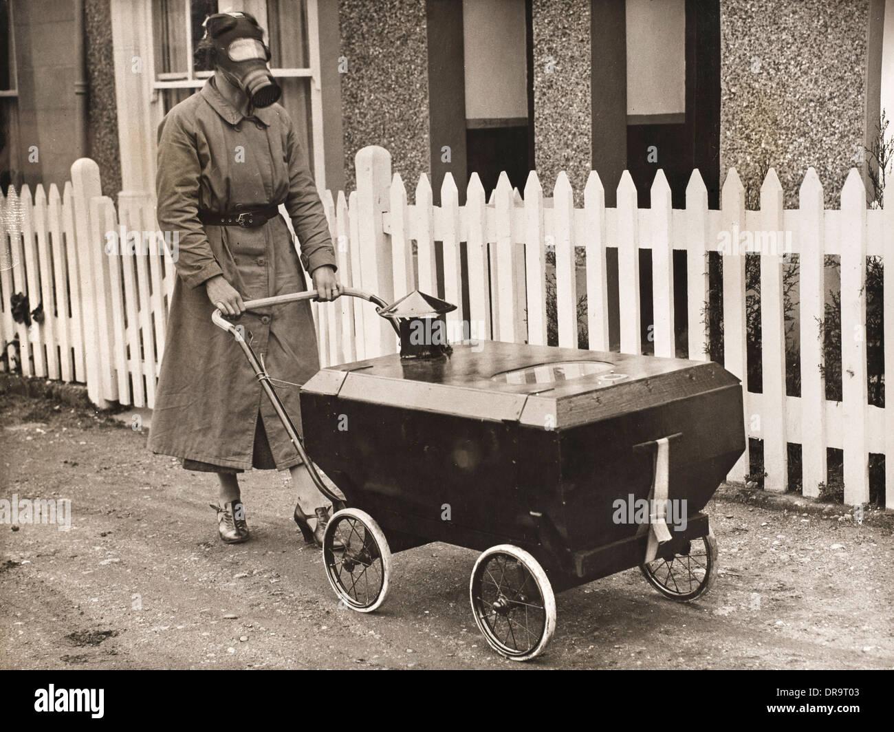 Gas proof pram, 1938 - Stock Image