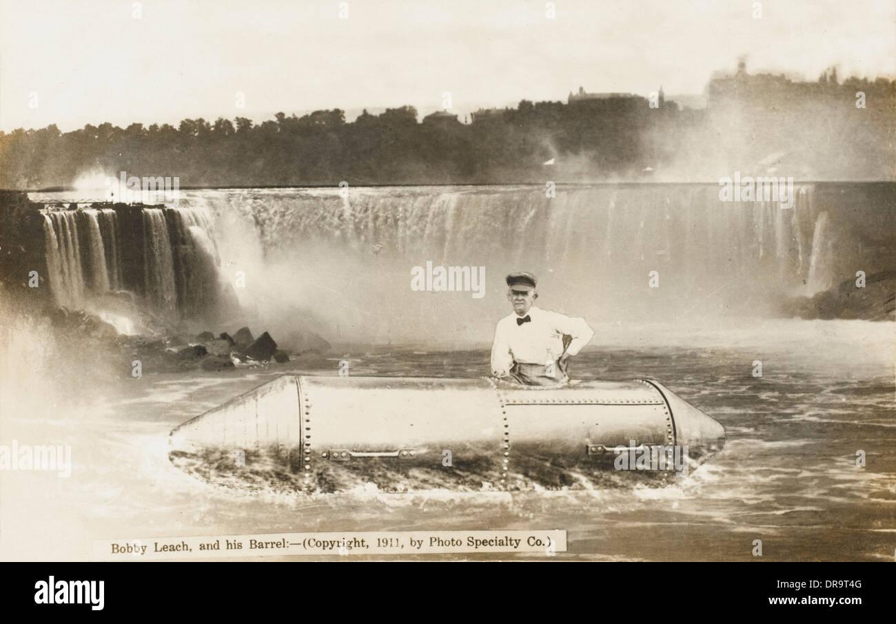 Bobby Leach and his barrel - Niagara Falls - Stock Image