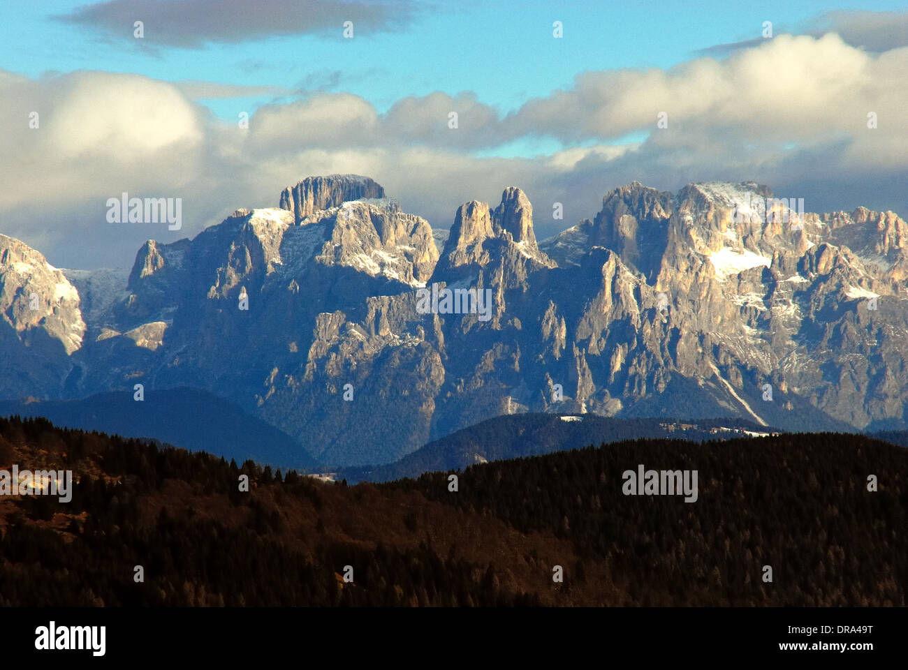 Southern Limestone Alps, Dolomites, the Pala group (Italian: Pale di San Martino, Dolomiti delle Pale or Gruppo Stock Photo