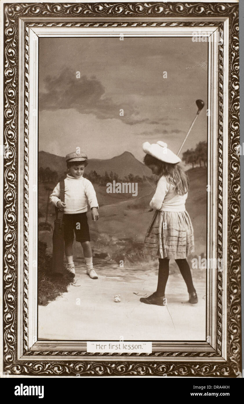 First Golf Lesson - Stock Image
