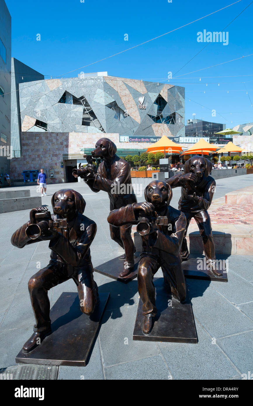 Sculpture outside Federation Square art centre in Melbourne Australia - Stock Image