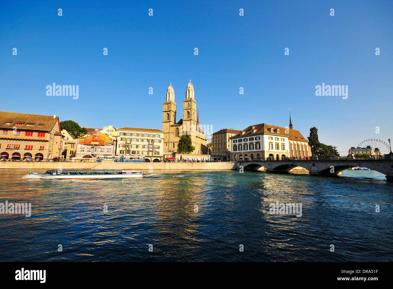 Limmat River in Zurich, Switzerland - Stock Image