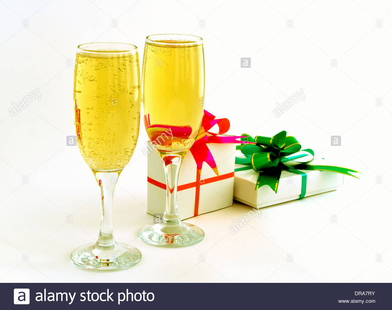 Drink champaign goblet two two goblets glass gift bows - Stock Image