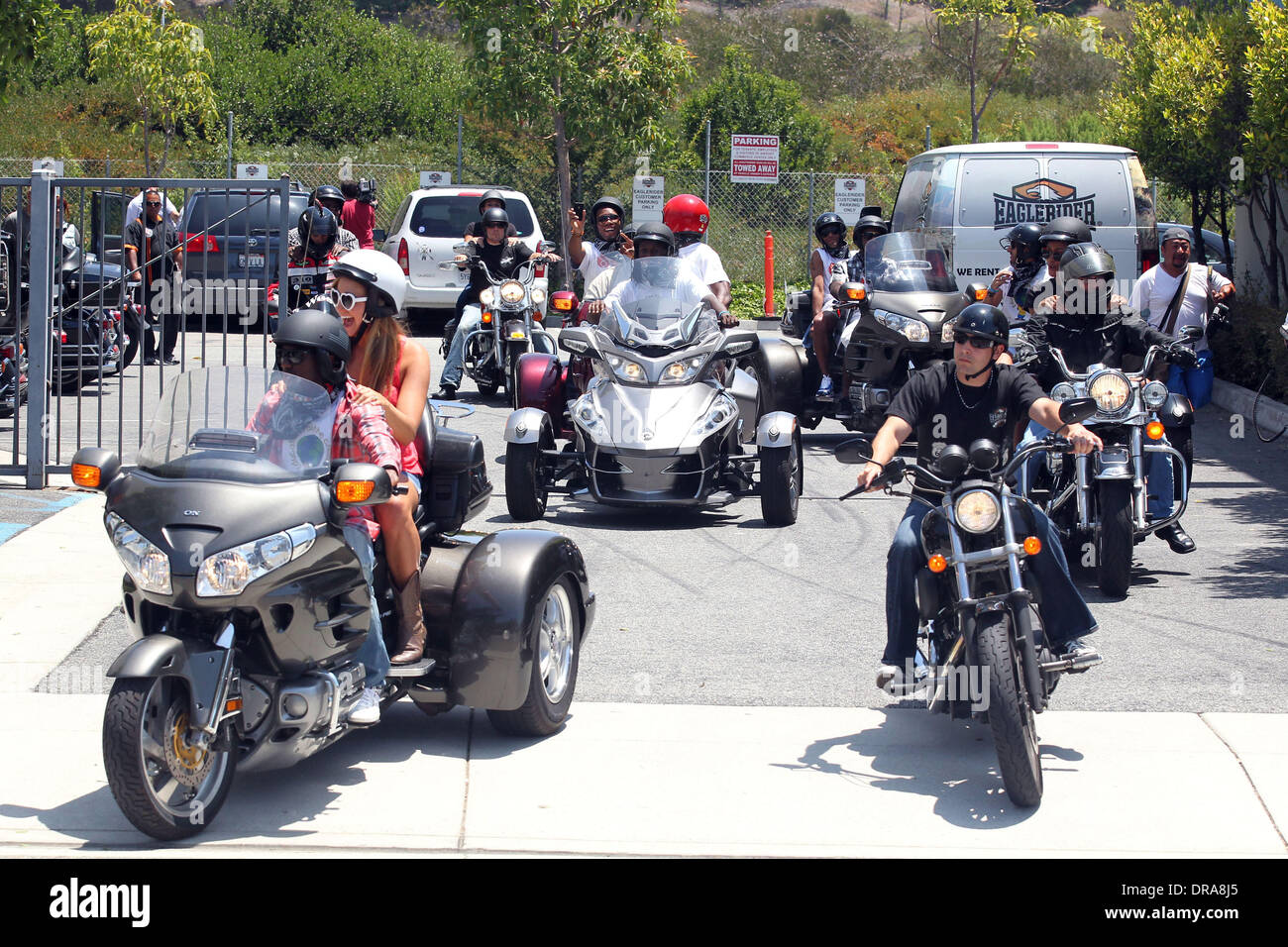 Atmosphere Professional football players from the English Premier League host an event at Eaglerider Motorcycles in support of 'armsaroundthechild.org' Los Angeles, California - 01.07.12 - Stock Image